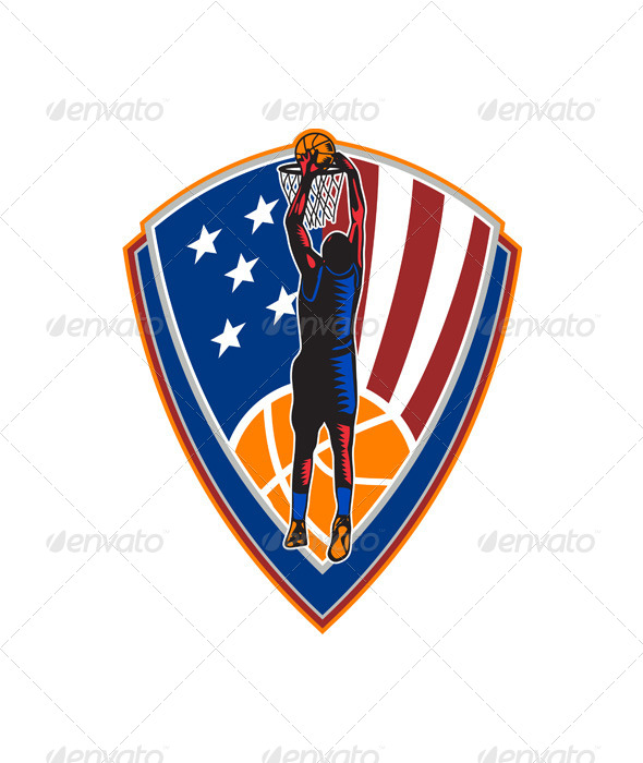 GraphicRiver American Basketball Player Dunking Shield Retro 6728922