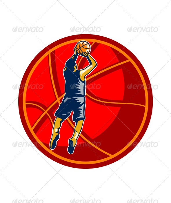 GraphicRiver Basketball Player Jump Shot Ball Woodcut Retro 6728924