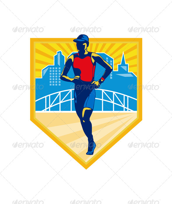 GraphicRiver Triathlete Marathon Runner Retro 6729023