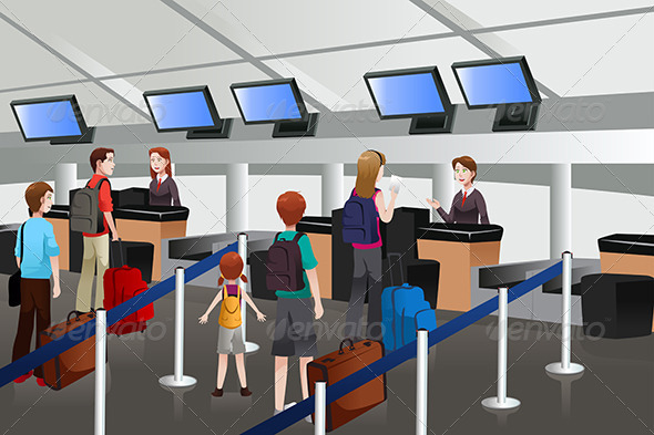GraphicRiver Lining Up at the Check-In Counter in the Airport 6729045