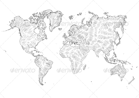 GraphicRiver Sketch Illustration of World Map Silhouette 6729110