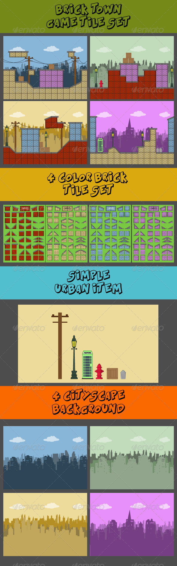 GraphicRiver Brick Town Tile Set 6730009