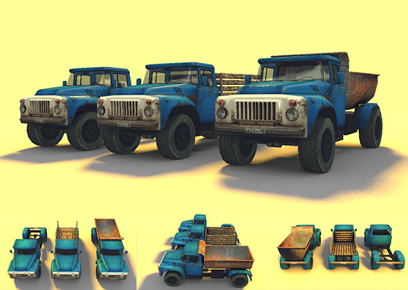 3DOcean Low Poly GAZ-53 Game Model 6730202