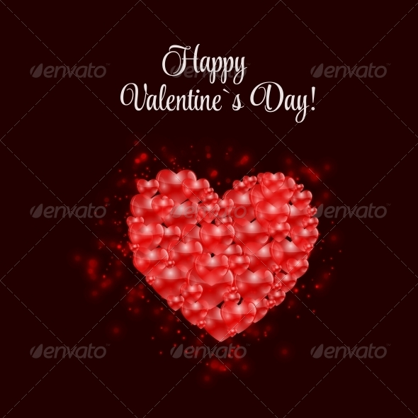 GraphicRiver Happy Valentines Day Card with Heart Vector 6730276