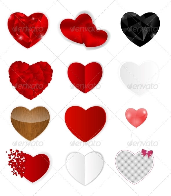 GraphicRiver Set of Hearts Vector Illustration 6730293