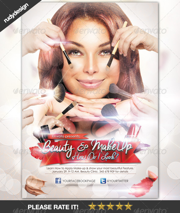 Beauty Make Up Cosmetic Flyer Design Graphicriver