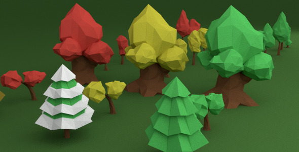 3d Model Low Poly Trees Pack