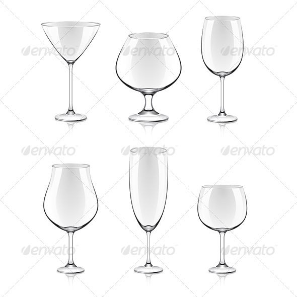 Transparent Glasses for Wine and Cocktails