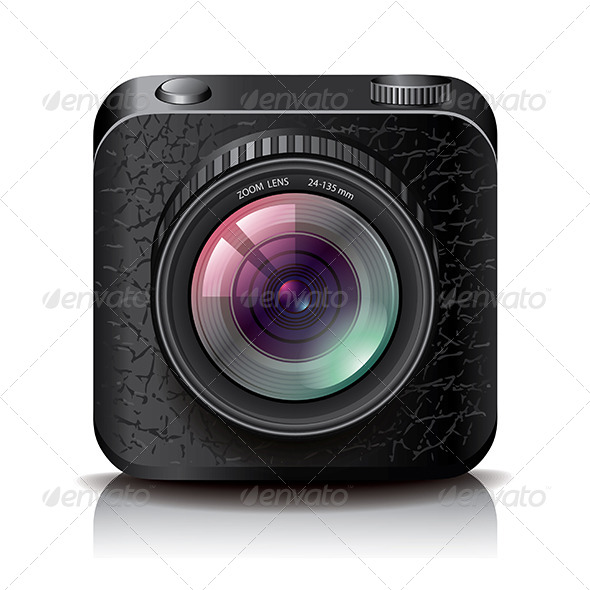 GraphicRiver Black Photo Camera Icon for Apps 6731127