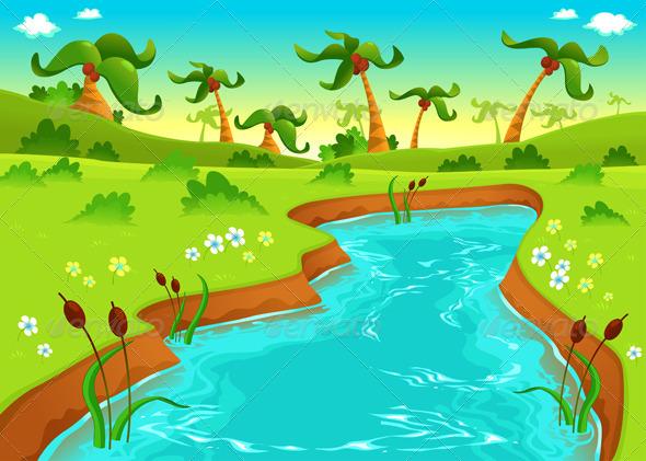 Cartoon pond jungle with pond cartoon and