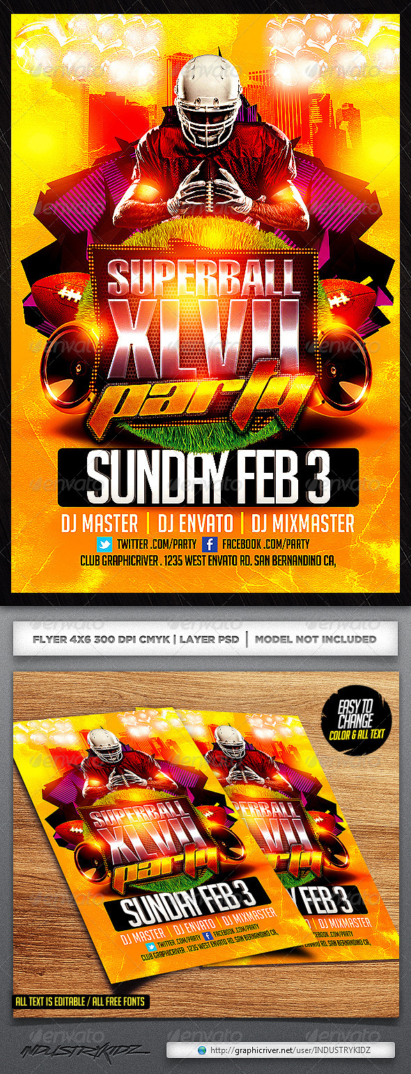 Superbowl Party Flyer Template - Sports Events
