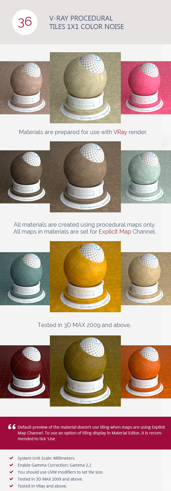 V-Ray Procedural Tiles 1x1 Color Noise - 3DOcean Item for Sale