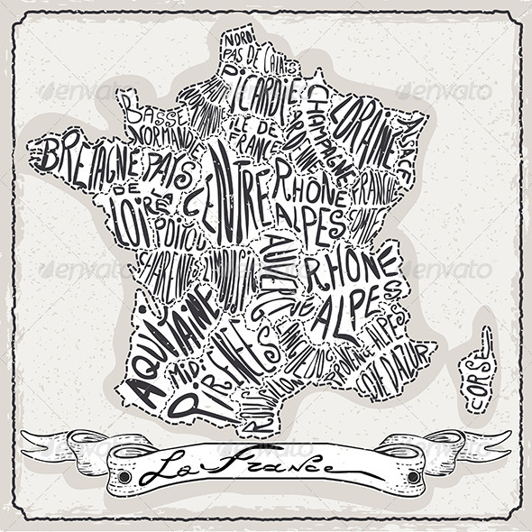 GraphicRiver France Map on Vintage Handwriting Page 6731563