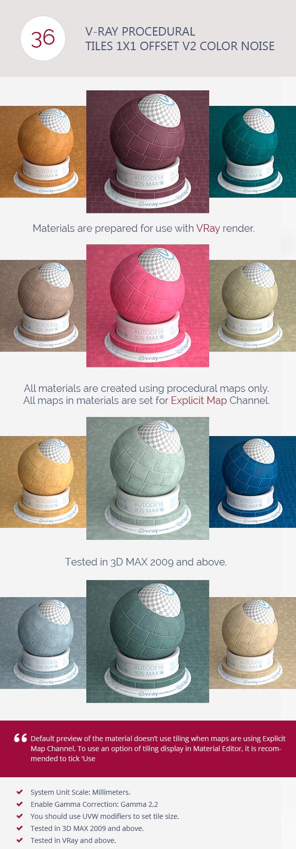 V-Ray Procedural Tiles 1x1 Offset V2 Color Noise - 3DOcean Item for Sale