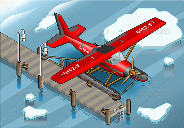 GraphicRiver Isometric Artic Hydroplane at Pier 6731566