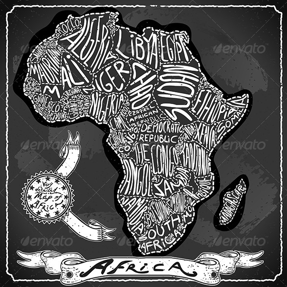 GraphicRiver Africa Map on Vintage Handwriting BlackBoard 6731585