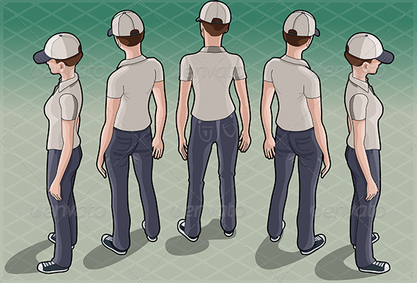 GraphicRiver Isometric Service Woman in Five Positions 6731590