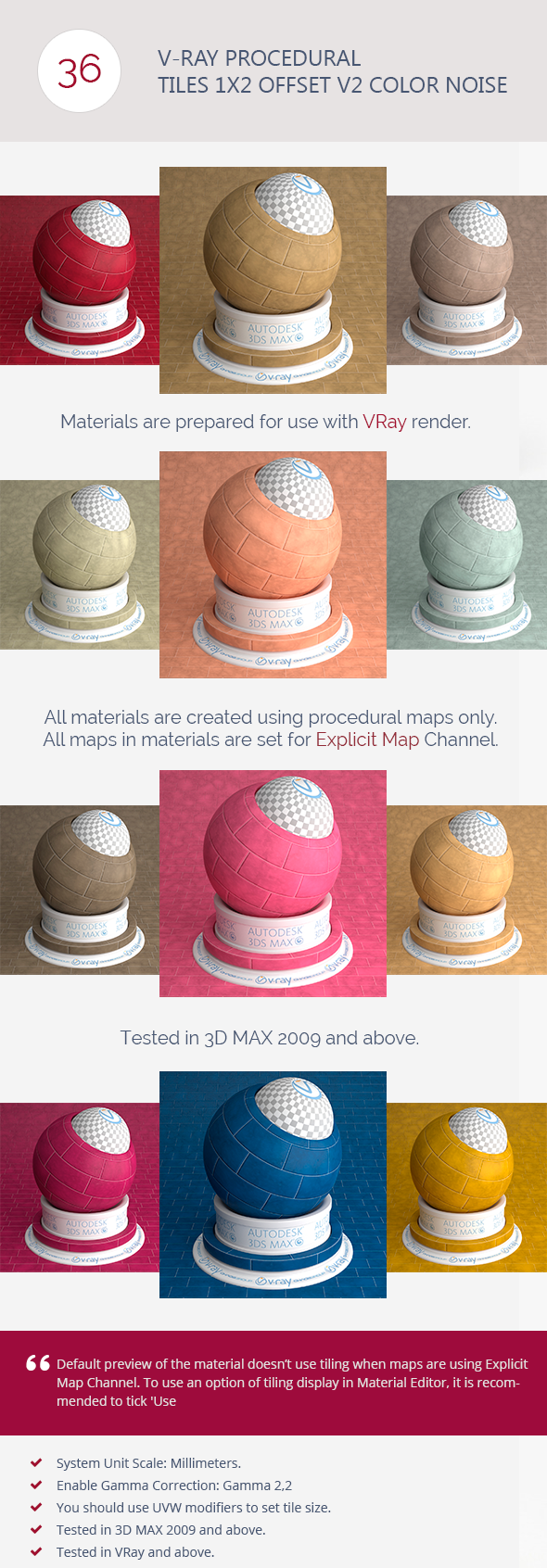 V-Ray Procedural Tiles 1x2 Offset V2 Color Noise - 3DOcean Item for Sale