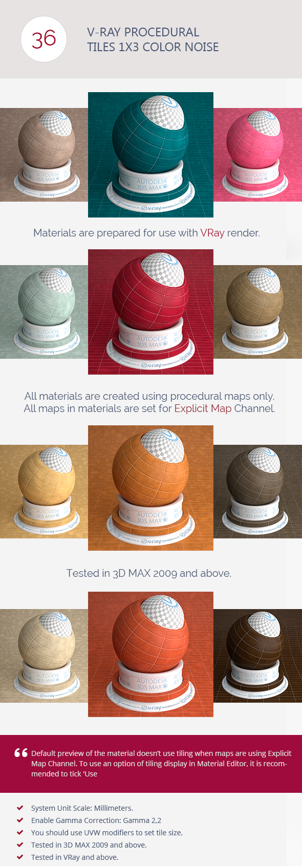 V-Ray Procedural Tiles 1x3 Color Noise - 3DOcean Item for Sale
