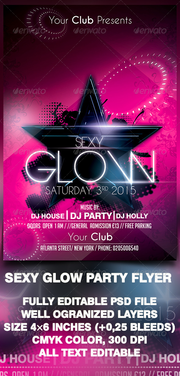 Sexy Glow Party Flyer Template