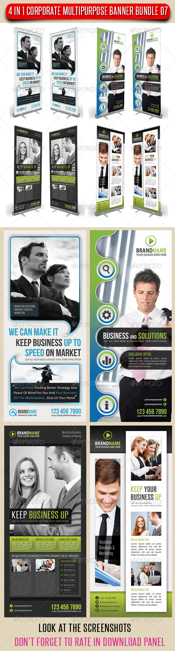 GraphicRiver 4 in 1 Corporate Multipurpose Banner Bundle 07 6732378