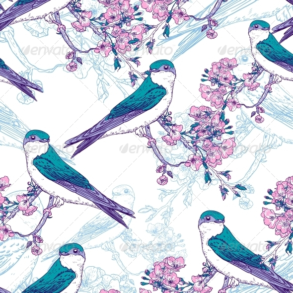 GraphicRiver Seamless Spring Cherry Pattern with Birds 6732397