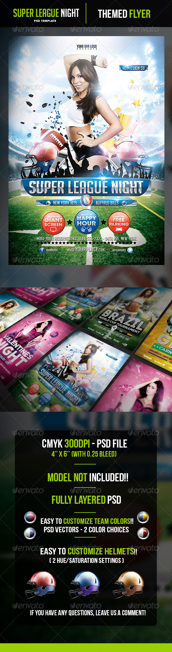 Super League Night Flyer Template - Sports Events