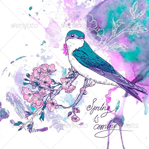 GraphicRiver Spring Cherry Background with Birds 6732824