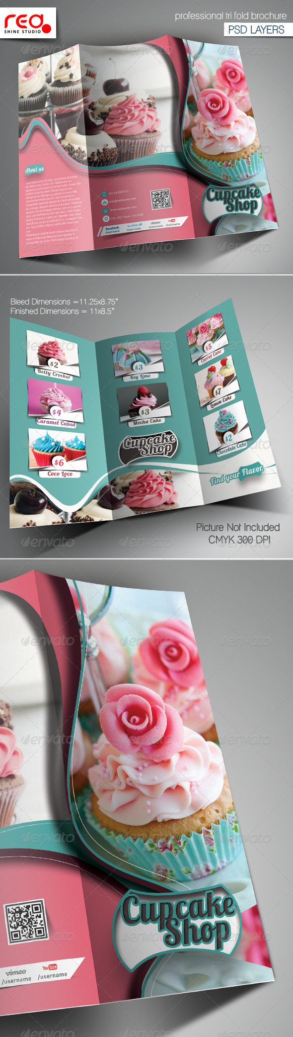 GraphicRiver Cupcake & Bakery Shop Trifold Brochure Template 6733447