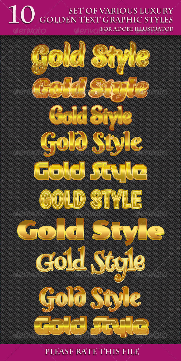 GraphicRiver Set of Various Luxury Golden Text Graphic Styles 6733464