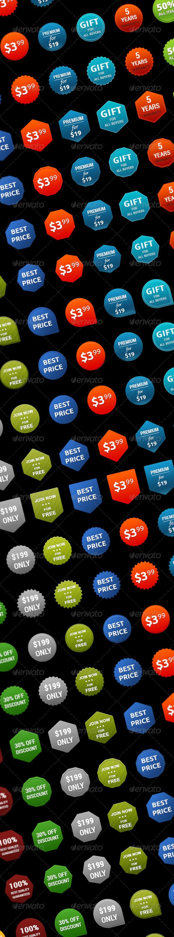 GraphicRiver Collection set of 195 unique badges 6733561