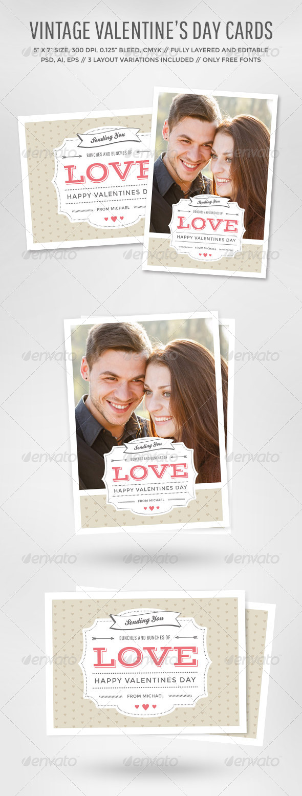 GraphicRiver Vintage Valentine s Day Card 6726821