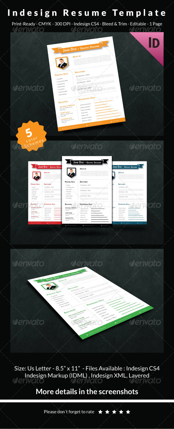 GraphicRiver Indesign Resume Template 6726622