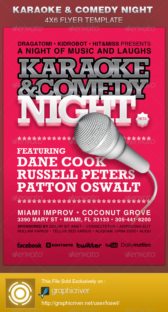 karaoke and comedy night flyer template graphicriver