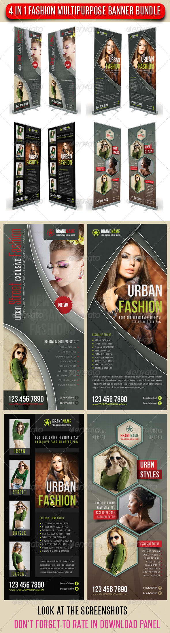 GraphicRiver 4 in 1 Fashion Multipurpose Banner Bundle 07 6734179