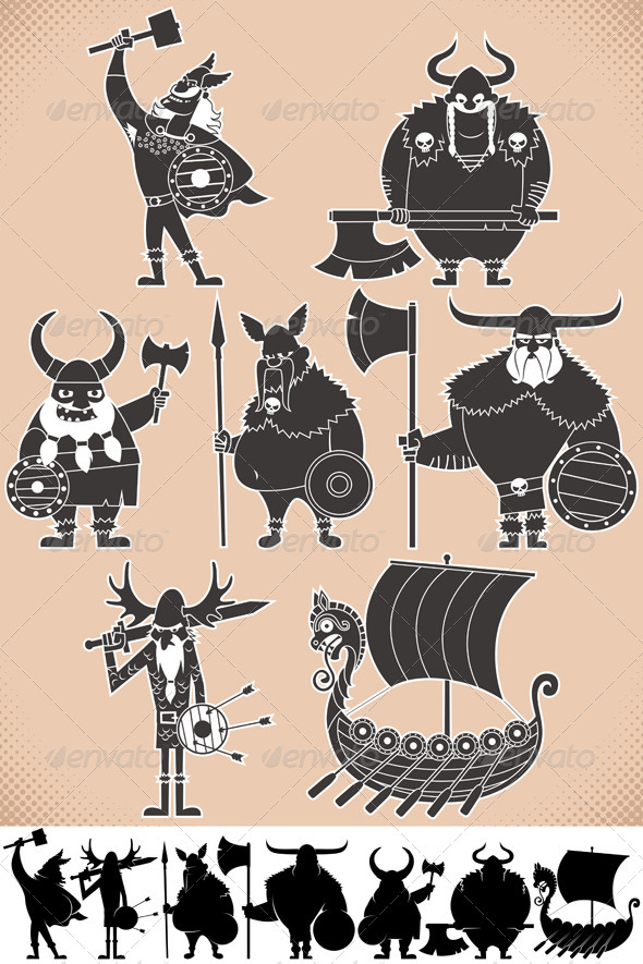 GraphicRiver Viking Silhouettes 6734380