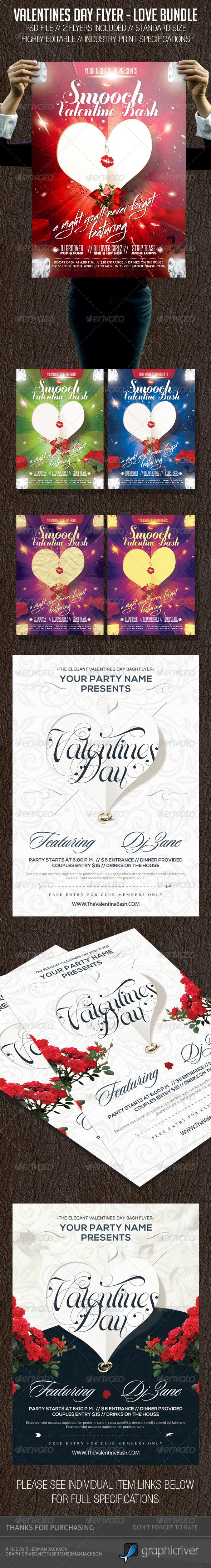 GraphicRiver Valentines Day Love Flyer Bundle 6734653