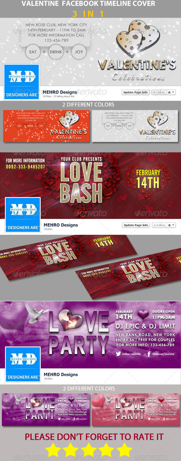 GraphicRiver Bundle # Valentine FB Timeline Cover 6734710
