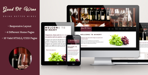 Good Ol' Wine - Wine and Winery Template - Restaurants & Cafes Entertainment