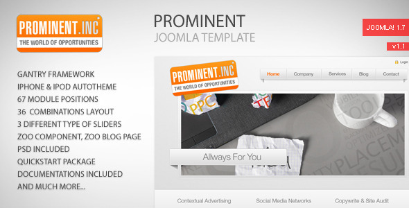 preview prominent.  large preview - Prominent - Joomla Template