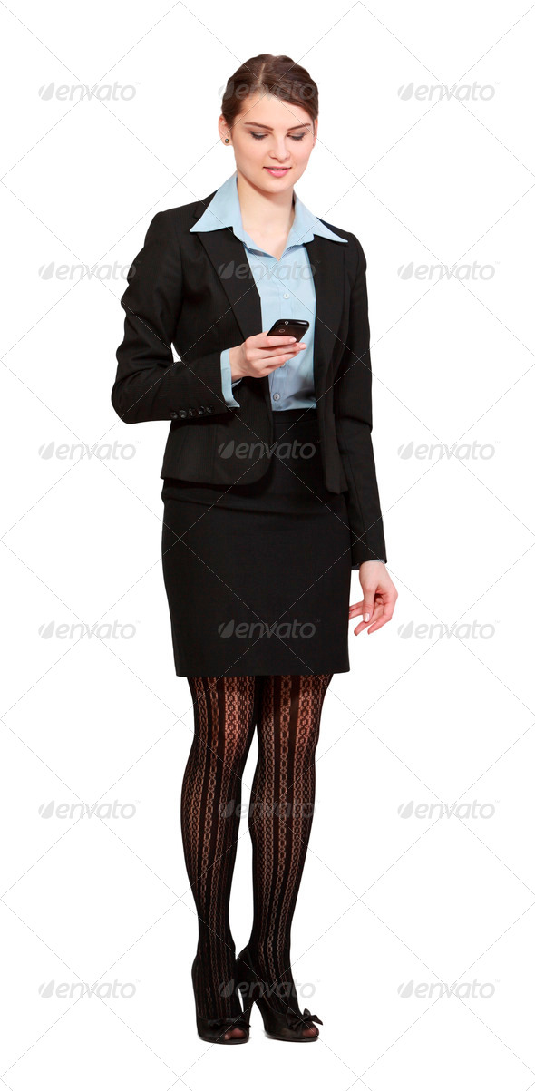 Woman Checking Her Mobile Phone - Stock Photo - Images