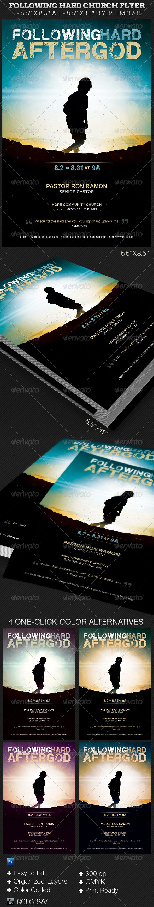 GraphicRiver Following Hard Church Flyer Template 6735539