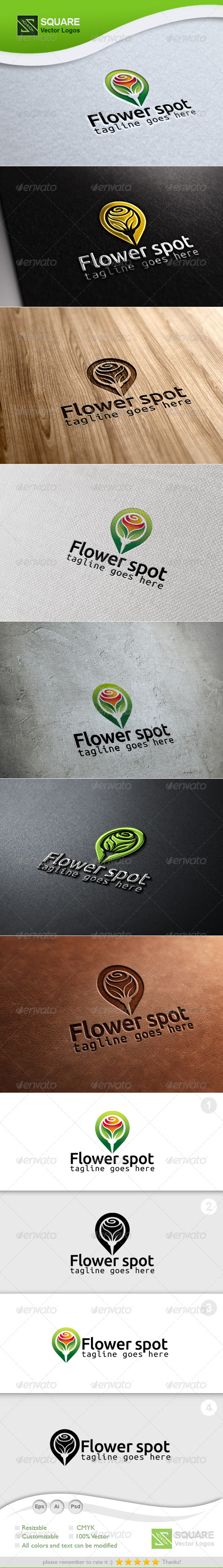 Flower Locator Vector Logo Template