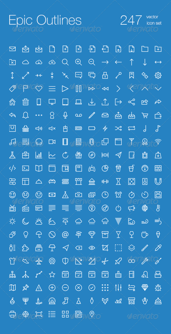 GraphicRiver 247 Outlines Icon Set 6709961