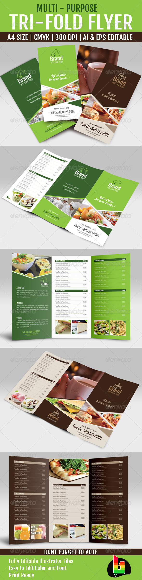 GraphicRiver Multi Purpose Tri-Fold Menu Card 6735968