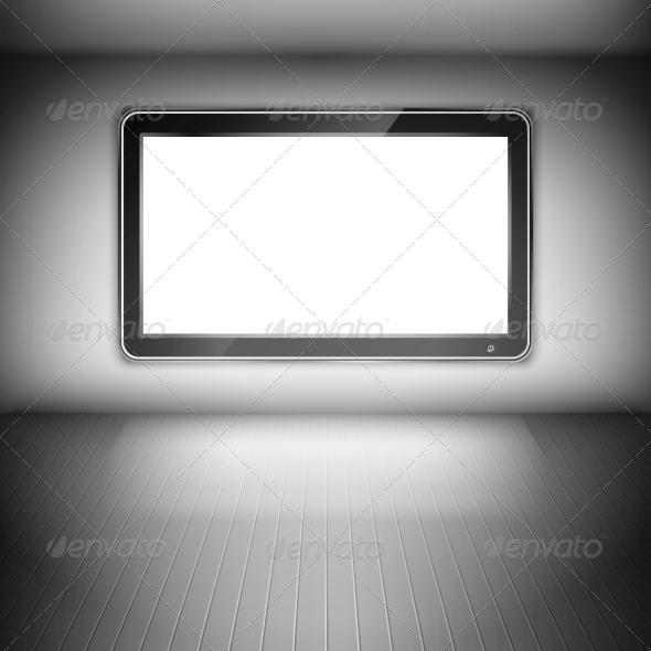 GraphicRiver TV Set on the Wall in Dark Room 6736169