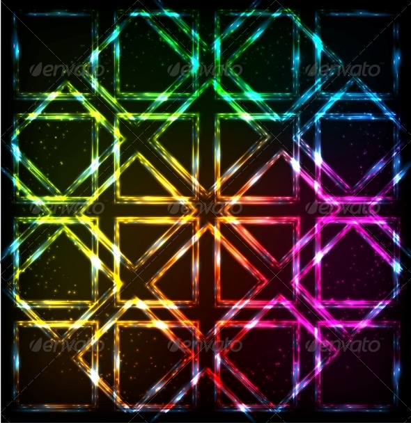 GraphicRiver Shining Neon Lights Rainbow Squares Background 6737097