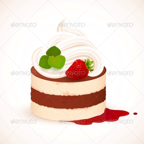 GraphicRiver Tiramisu Cake with Cream and Strawberry 6737103