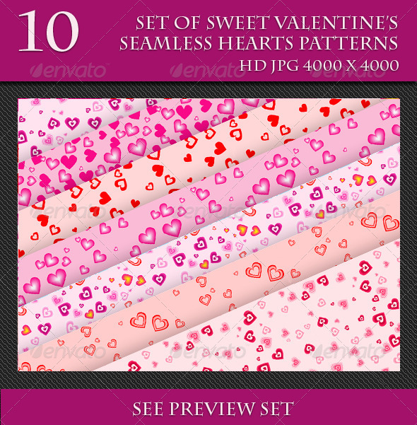 GraphicRiver Set of Sweet Valentine s Seamless Hearts Patterns 6737237