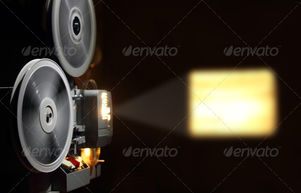 old projector showing film - Stock Photo - Images